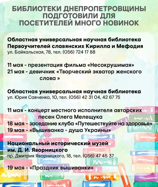 Библиотеки Днепропетровска подготовили для посетителей много интересного
