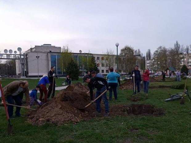 У Вільногірську висадили сорок молодих ялинок.