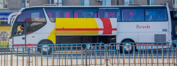 В Днепре задымился автобус с пассажирами внутри