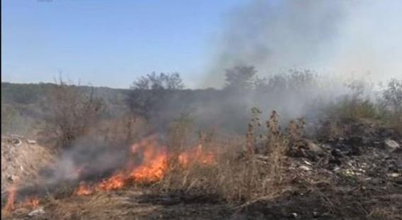 В Днепре возле жилых домов горит свалка мясных отходов
